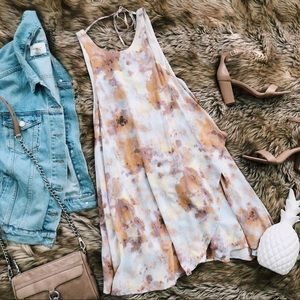 Urban outfitters watercolor waterfall mini dress